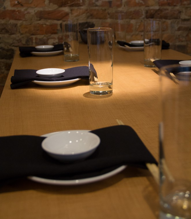 Sushi restaurant dining table