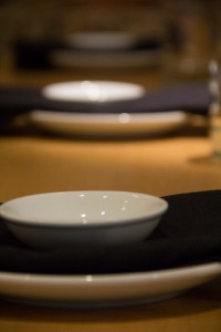 Dishware set at sushi dining room table