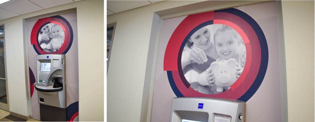 Brand-inspired wall graphics over ATM