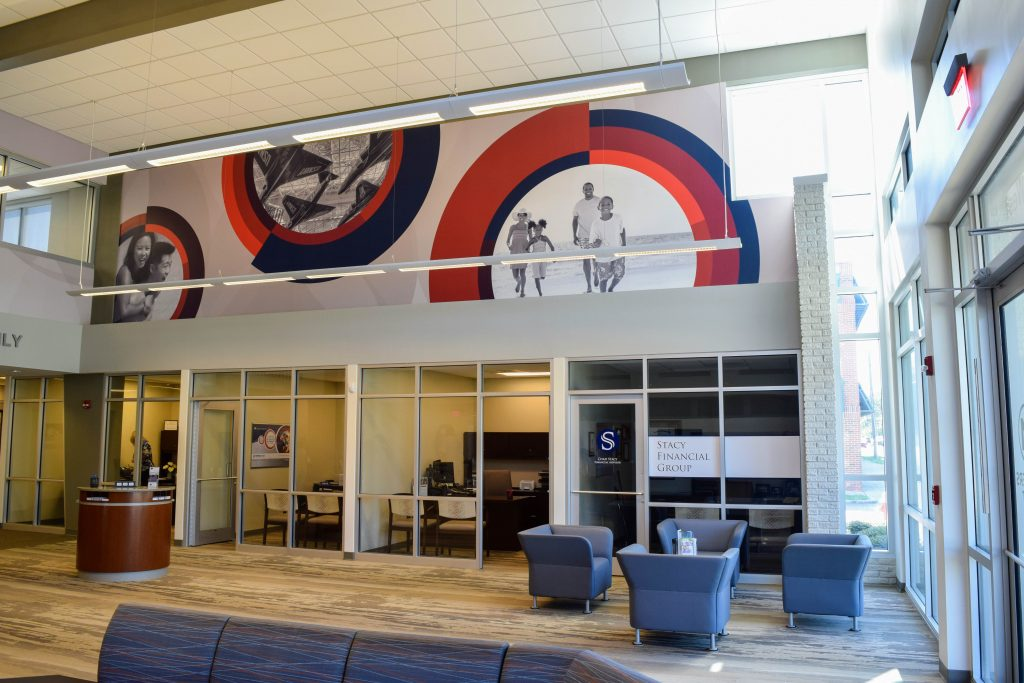 Environmental graphics in Members First lobby