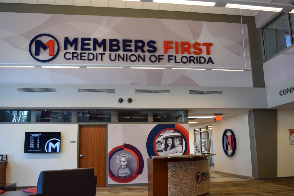 Members First lobby branded environment