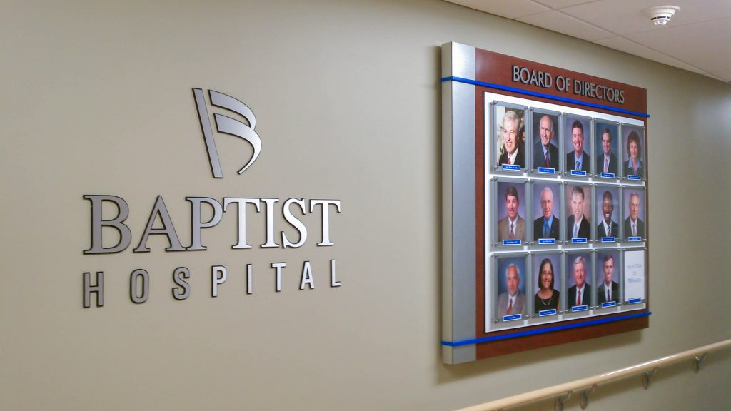 Board of Directors lobby photo display for Baptist Hospital.