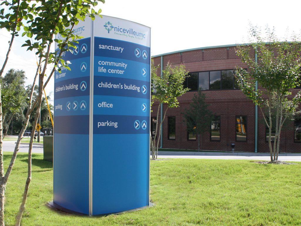 Exterior directory wayfinding sign on church campus -  signgeek wayfinding