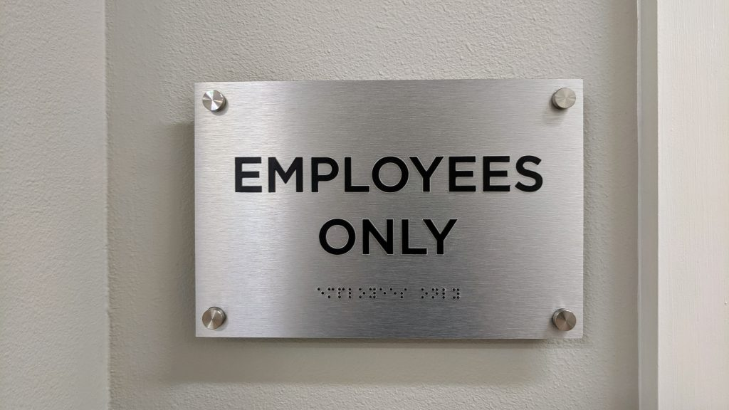 Employees Only ADA room sign - fabricated and installed by signgeek
