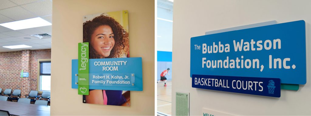 Donor room signage for Manna Food Pantries and YMCA Pensacola