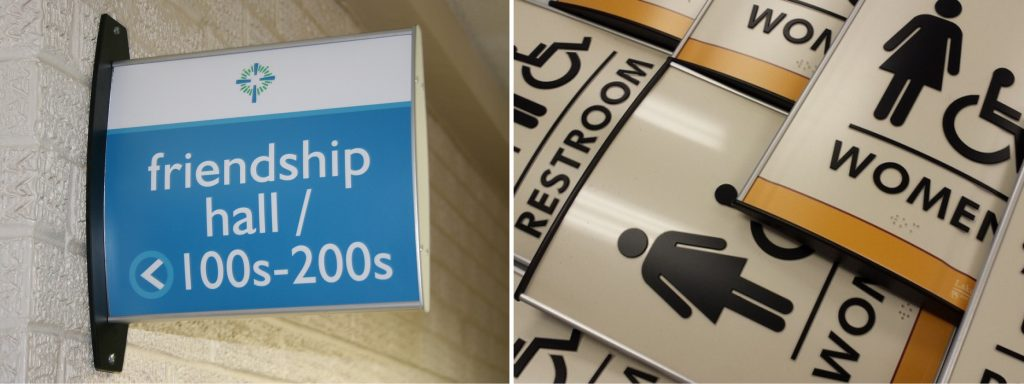 Vista System wayfinding signs installed by signgeek