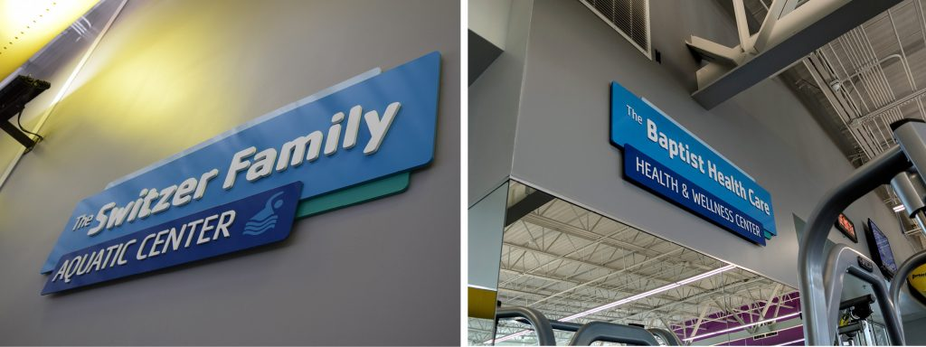 Donor room signs with dimensional letters for YMCA Pensacola