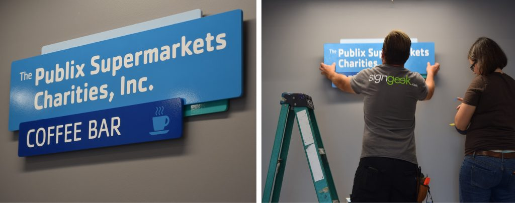 Donor room sign installation by signgeek at YMCA Pensacola
