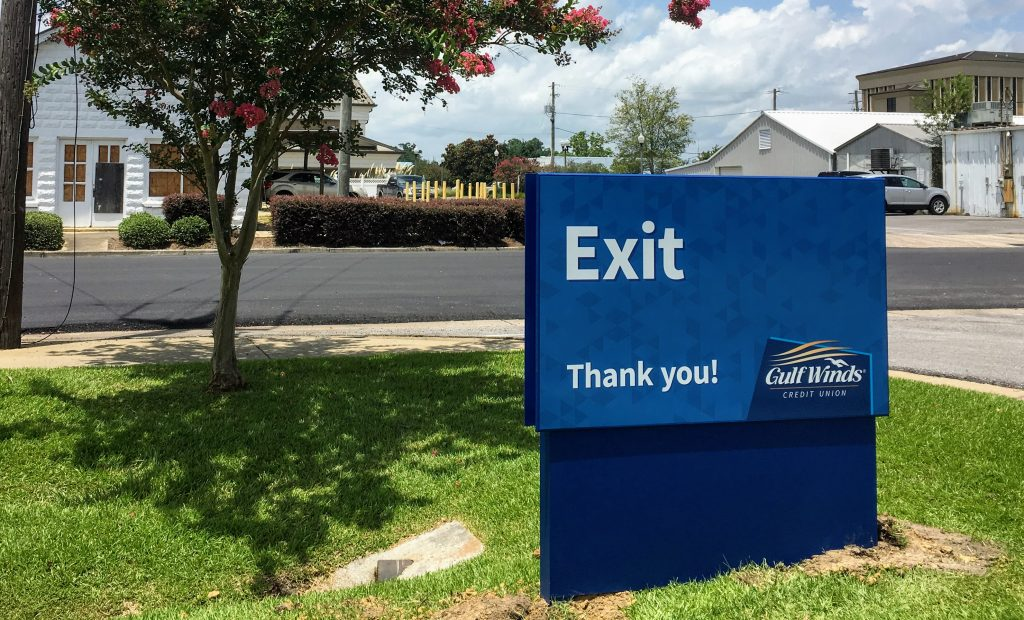 exterior wayfinding sign at Gulf Winds Credit Union by signgeek