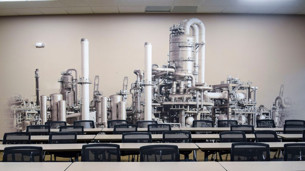 Environmental graphics inside Engineered Cooling Services classroom