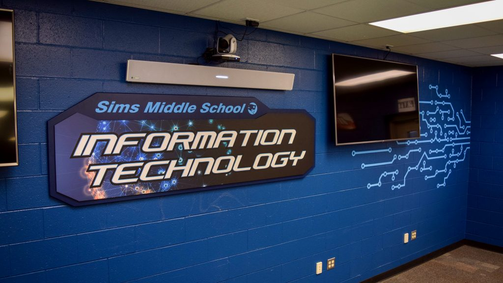 Environmental graphics for Locklin Technical College IT program in Sims MIddle School classroom