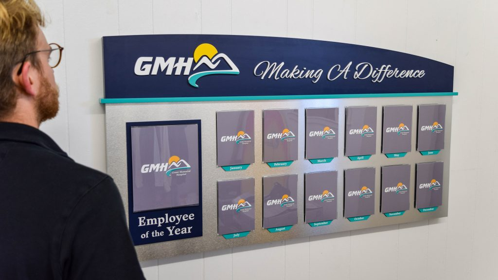 Employee of the Year Recognition Wall for Grant Memorial Hospital